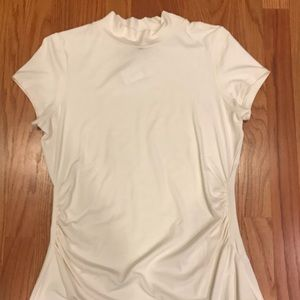 WHBM Cream Short Sleeve Turtleneck